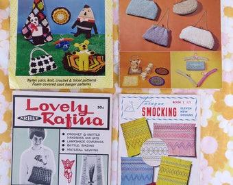 Vintage 1960s craft pattern books x 4 -  tea cosies lamps bags coat hangers toys smocking etc