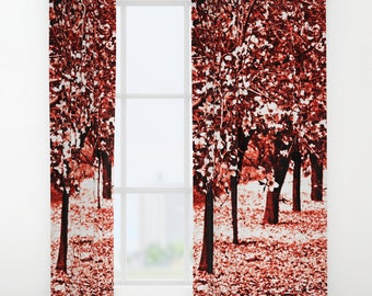 Red curtains | Etsy