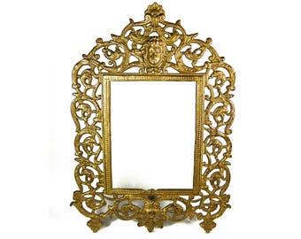Antique Ornate Brass Plated Cast Iron Easel Back Frame - Art Nouveau - Vintage Frames - Vintage Decor