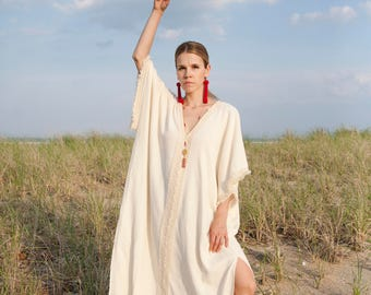 Boho Chic Oversized Caftan Dress - Tassel Kimono Caftan Dress- Long Beach Cover Up  - Long Bohemian Beach Dress - Ethnic Swimsuit Cover Up