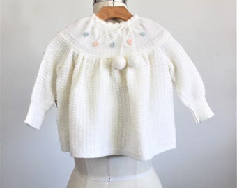 Vintage  Knitted Baby Sweater Dress / Little Girls Toddler Layette Blue Pink White