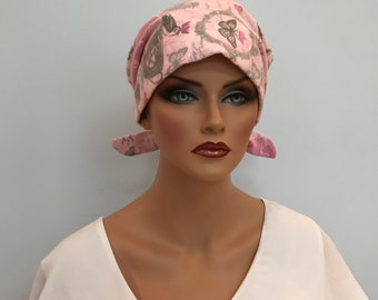 Krystal Women's Flannel Head Scarf, Cancer Hat, Chemo Scarf, Alopecia Head Cover, Head Wrap, Headwear for Hair Loss - Pink Paris