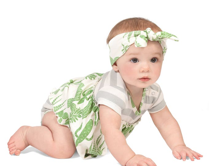 Baby Skirted Bodysuit Dress, Newborn Girl Outfit, Baby Girl Skirted Romper Green Cactus, Southwest Baby Girl Dress