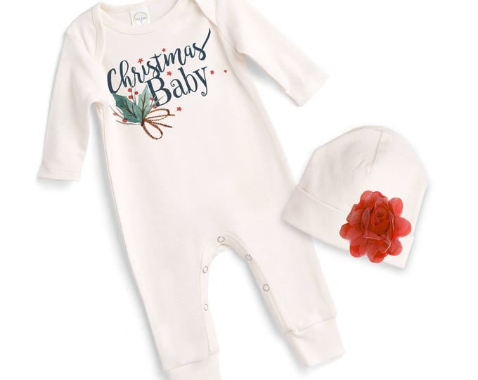Newborn Christmas Baby Romper Pink, Baby Girl Christmas Bodysuit, Baby Girl Christmas Bodysuit, 1st Christmas Baby Romper, Tesababe