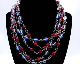 Garnet and Opalite Rosary Style Wrap necklace