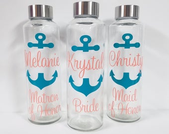 Glass Water bottle, Nautical Water Bottle, Personalized Monogram 16 ounces, Bridesmaid Gift, anchor, Nautical Wedding