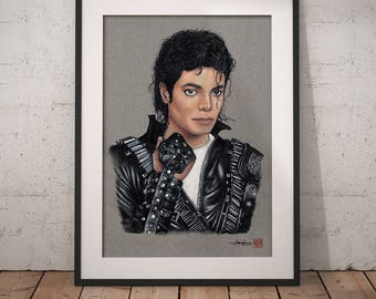 Michael Jackson (Bad era) - Illustrated Giclee Print