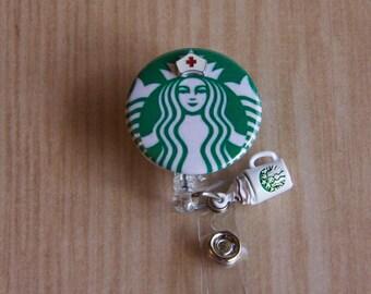 Badge Reel Nurse Starbucks Coffee Badge Holder with Starbucks Charm- Nurse Badge Reel-Retractable Holder- Badge Pull - Mylar Badge Holder