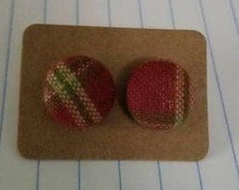 Tartan Plaid Button Earrings