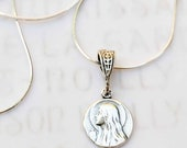 Necklace - Tiny Mary of Magdala Medal w/ Alabaster Jar 10mm - Sterling Silver + 18 inch Sterling Silver Chain