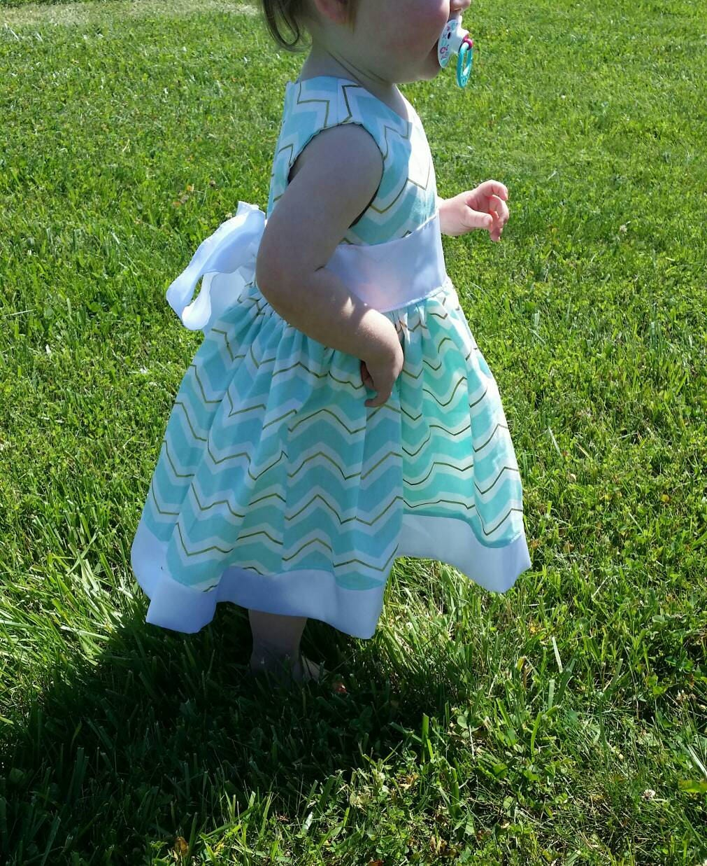 Blue Chevron Party Dress With Gold Accent 6mo-7T, Free Shipping in ...