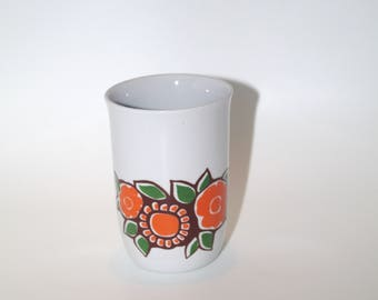 Polish vintage ceramic soviet mug Made in Poland Chodziez Polish folk art beautiful pattern flowers Floral cup Polish pottery orange brown