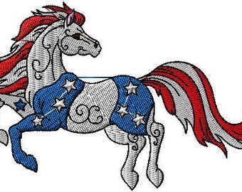 American flag horse iron on or sew on patch Horse iron on patch Horse sew on patch American flag patch Horse patch Animal iron on patch