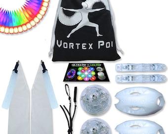 Vortex Poi W/ Helix Handles - Ultrapoi Led Poi Set - Best Light Up Glow Poi - Flow Rave Dance - Spinning Light Toy