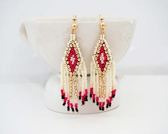 Pink, Ivory, and Gold Beaded Tassel Earrings