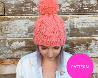PATTERN ONLY Pomtastic cabled hat knitting pattern, knit hat pattern, pom knit hat, knitting pattern, cabled knitting pattern