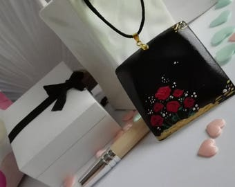 Black wood pendant handpainted, red roses, gold embossed