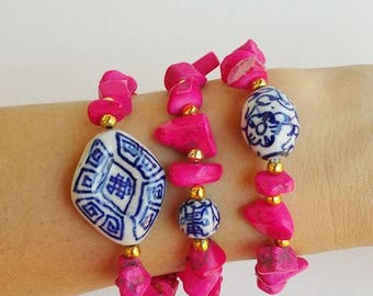 Bohemian Beaded bracelets - stone beads - pink bracelets - stretch bracelet - blue white porcelain, chinese porcelain, stacking bracelets
