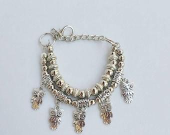 Belly dance jewelry - Silver Gipsy Bracelet - tribal chic bracelet - boho chic bracelet - metal bracelet - owl jewelry - silver owl - boho