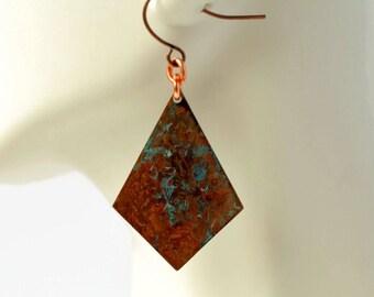 Turquoise earrings, patina earrings, copper earrings, copper jewelry, verdigris earrings, boho earrings, long earrings, geometric earrings