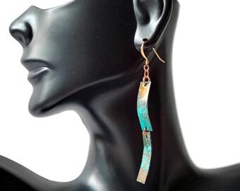 Blue Patina Wave Earrings, Dangle Earrings, Copper Earrings, Long Earrings, Statement Earrings