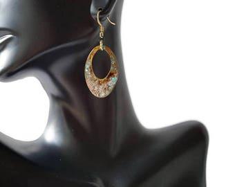 Lightweight Brass Earrings, Verdigris Earrings, Brass Hoop Earrings, Tribal Earrings