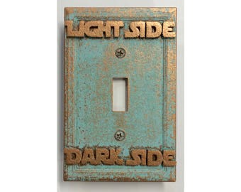 Star Wars  (Light/Dark Side) - Light Switch Cover - Aged Copper/Patina or Stone