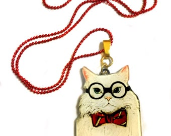 Science Cat, With Glasses, Albert Einstein, Philosophy of science, Geeky, Symbolic Graduation Gift, Scientist necklace
