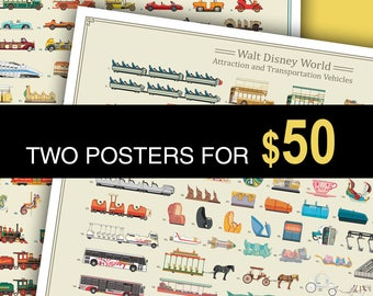 Two Posters for 50 Dollars: Choose from WDW Attraction Vehicles, DLR Attraction Vehicles, and WDW Main Street Buildings
