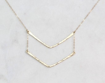 Statement Necklace//Double Hammered V Necklace