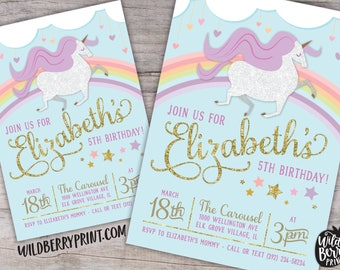 Magical Glitter Unicorn Birthday Party Invitation with Free Shipping or Personalized Printable | Blue Glitter Unicorn