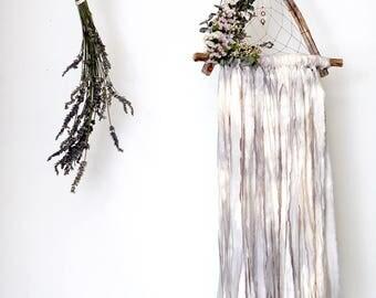 Grey Tie Dye Triangle Dream Catcher with Dried Flowers