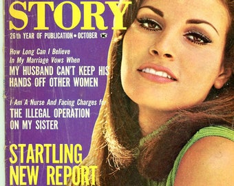 Real Story Magazine 1966  Raquel Welch on Cover  Very-Hard-To-Find !  Adultery  Wrong Man  Illegal Operation  Divorcee at 19  New Sex Report