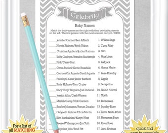 Instant Download CELEBRITY Baby Name Game With Classic Gray Chevrons Shower ANSWERS