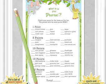 "Instant Download ""What is in Your PURSE? Baby Shower game, Safari/Jungle themed baby game, diy PRINTABLE , 15BA"