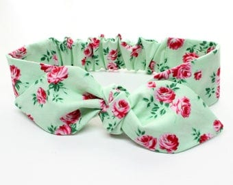 Rosey Posey baby headband - jade roses baby headband