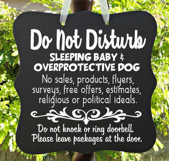 Do Not Disturb Sign, Sleeping Baby Sign, Overprotective Dog, No Soliciting Sign, Do Not Ring Doorbell, Leave Packages, Door Sign