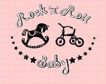 Rock n Roll Baby svg/png/dxf cricut/silhouette cutting file/baby svg/rock svg/roll svg/HTV/vinyl tee/t shirt svg/child HTV/Diy HTV/baby tee