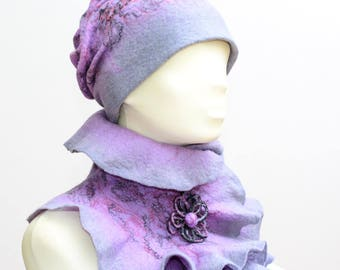 Felted Wool Hat, Winter Hat, Warm Hat, Wool Hat, Lavender and Grey Hat, Winter Accessories, Gift for Her, Christmas Gift