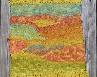 Handwoven Wool Wall Hanging - Yellow Arches - Ready for Framing
