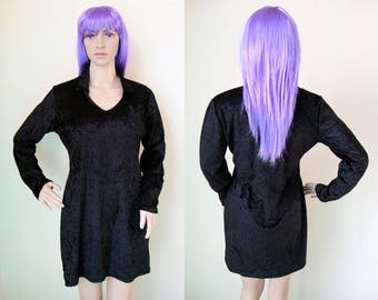 BLACK VELVET DRESS -v neck, gothic, 90s, grunge, witch, party, night, cocktail, sexy, long sleeve, casual, chic, prom-