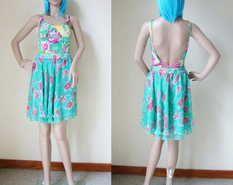 FLORAL SKIRT -pastel, blue, turquoise, roses, poppy, transparent, cute, clueless, hippie, boho, 90s, fancy, summer, circle, a-line-