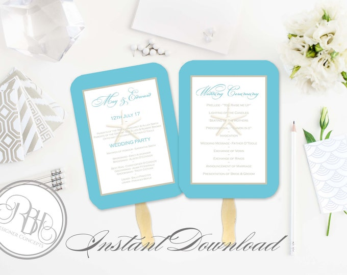 Beachside Wedding Program Fan Template -Instant DOWNLOAD - EDITABLE TEXT pdf Only - Starfish Beach Fan-Natalia