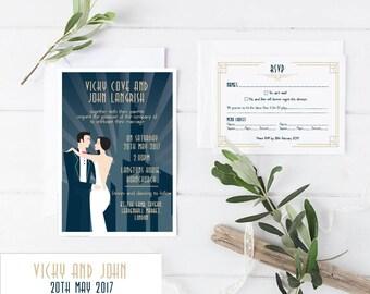 Great Gatsby  - Art Deco - Wedding Invitations Bundle - Invitation, RSVP and bellyband