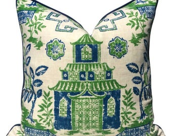 Blue and Green Teahouse Toile Linen Pillow Cover with Blue Pipping. Toile Linen Pillow Cover in Blue and Green. Cottage Linen Pillow.