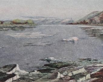 Ice drift on the Belaya River - Artist N. Russkikh - Vintage Soviet Postcard, 1955. Ural North Arctic Landscape Art Print