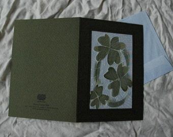 Set of 5,Good Lucky Four Leaf Clover Card,Hand Painted Clover Silk Card,Four Leaf  Clover,Happy Birthday Card,Clover Card,Lucky Clover Cards