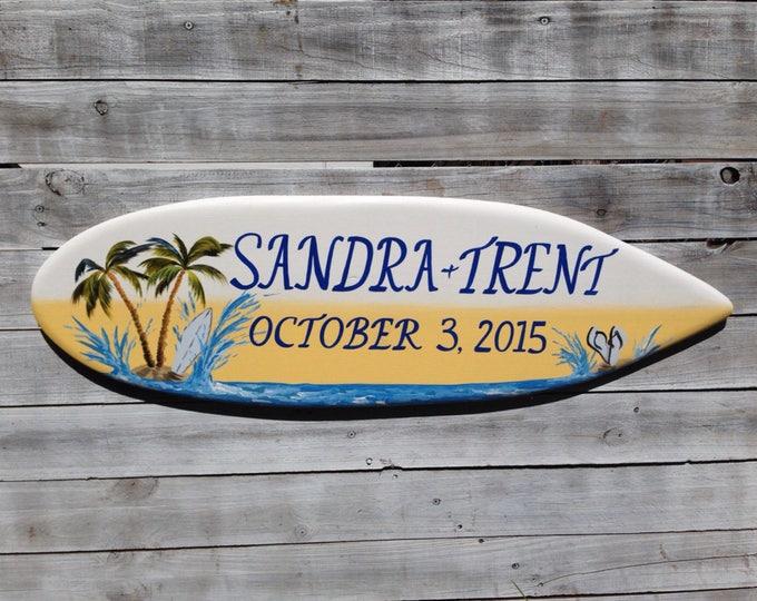 Palm Tree Beach Wedding Decor, Surfboard Sign Wood Gift For Couple, Hawaiian Wedding Decoration