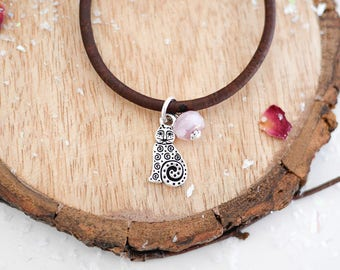 Cat Vegan Bracelet • Silver jewellery for her girlfriend, pink, crazy cat lady, kitty lover, pet, easy to wear, brown, Valentines, jewelry