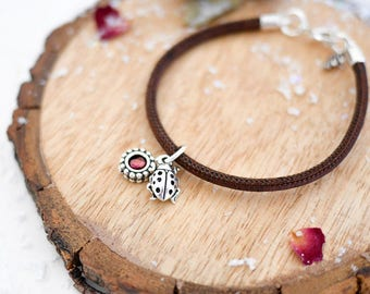 Ladybird Vegan Bracelet • Silver charm jewellery, ladybug, jewelry, rose red, insect, wildlife charm, Valentines, girlfriend wife present